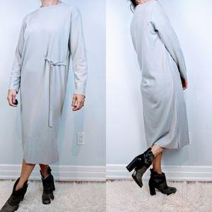 Oak and fort midi grey sweater dress